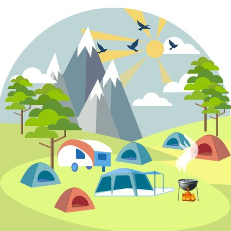 Camping near the mountains. Rest outside the city. In minimalist style Cartoon flat raster