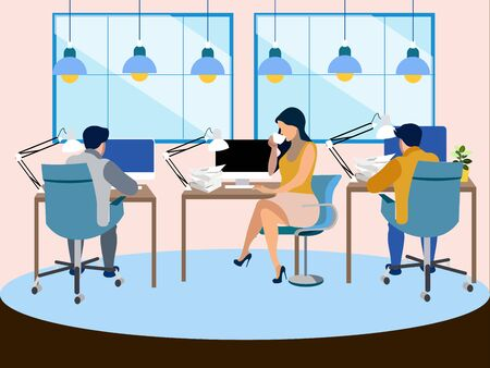 The working environment in the office. Employees work. In minimalist style Cartoon flat raster