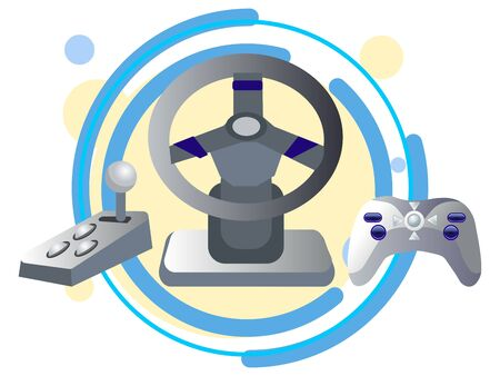 computer joystick, steering wheel and gearbox. In minimalist style Cartoon flat raster Imagens