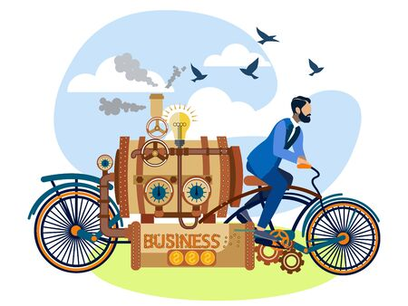 businessman drives a business car, bicycle. In minimalist style Cartoon flat raster