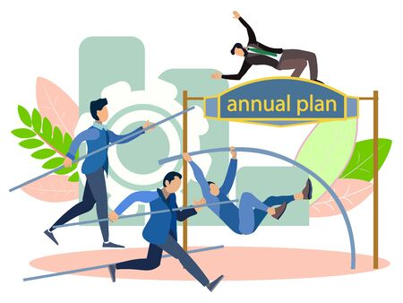 Annual plan. High jump. Office staffs run to the goal, competition. In minimalist style Cartoon flat raster Archivio Fotografico - 128742339