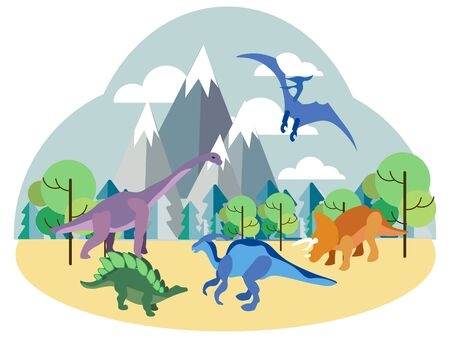 Dinosaurs, prehistoric animals on nature, set. In minimalist style Cartoon flat raster