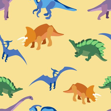 Seamless pattern, ancient animals, dragons. In minimalist style Cartoon flat raster Archivio Fotografico - 128742340