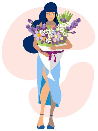 Woman and large bouquet of flowers. In minimalist style Cartoon flat raster