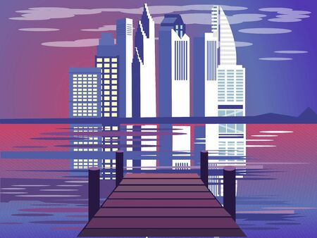 Marina with a view of the city, civilization. In minimalist style. Cartoon flat vector