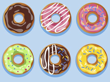 Set of 6 donuts. In minimalist style. Cartoon flat vector Иллюстрация