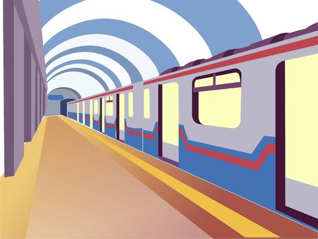 Underground. The train car is at the station. In minimalist style. Cartoon flat vector