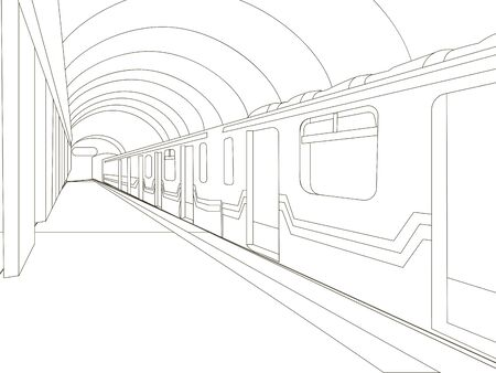 Underground. The train car is at the station. Coloring vector Foto de archivo - 129199904