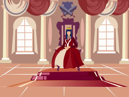 Queen is sitting on her throne. In minimalist style. Cartoon flat vector