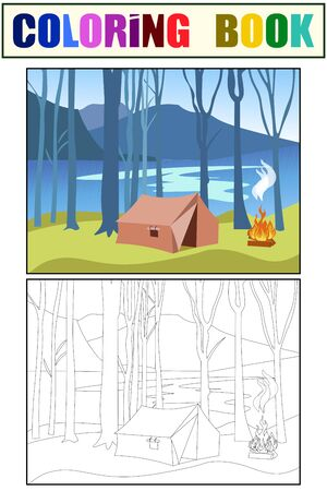 Camping. Tent in the forest, on the banks of the river. Coloring book and color sketch. vector
