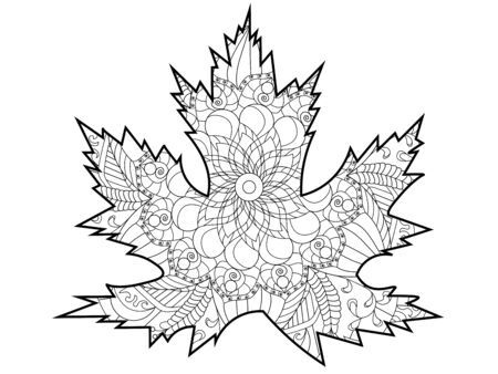 Leaf of a tree, maple. Coloring page. Colorless and color samples for adult antistress coloring book cover.