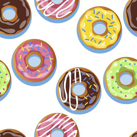 Set of 6 donuts. In minimalist style seamless. Cartoon flat vector