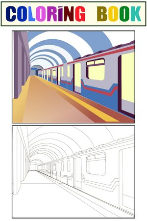 Underground. The train car is at the station. Coloring book and color sketch. vector Иллюстрация