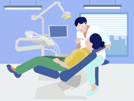 Reception at the dentist. In minimalist style. Cartoon flat vector Иллюстрация