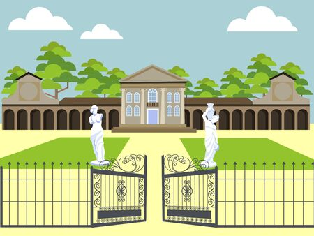 Entrance to the villa, expensive property. In minimalist style. Cartoon flat vector