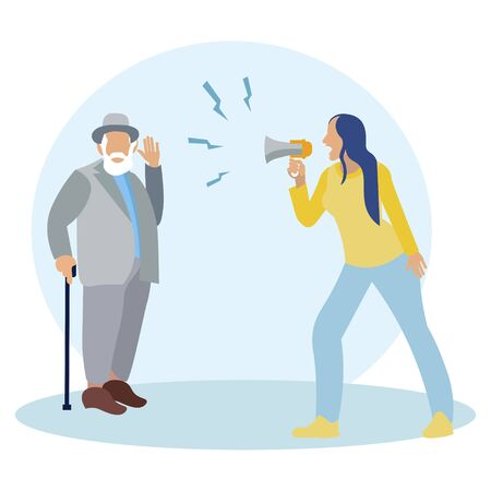 Woman shouting into a megaphone. Deaf man, senior citizen. In minimalist style. Cartoon flat vector Иллюстрация