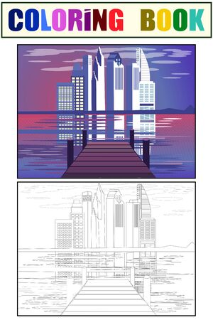 Marina with a view of the city, civilization. Color book sketch and coloring. Cartoon flat vector Illustration