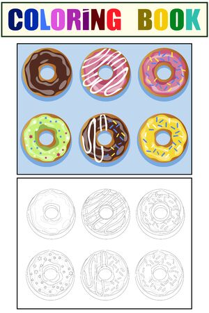 Set of 6 donuts. Color and coloring book. Cartoon vector
