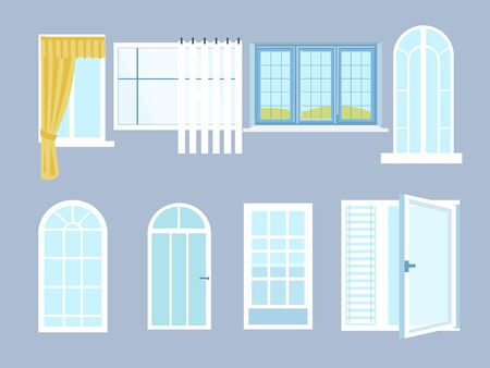 Set different windows with glasses. In minimalist style. Cartoon flat vector