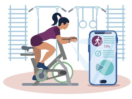 Sports gadget. A woman doing a workout on a bike-trainer and using a mobile application to watch out her performance. Sport and recreation. In minimalist style. Cartoon flat vector Иллюстрация