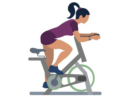 Sports girl on a stationary bike, isolated object. Sport and recreation. In minimalist style. Cartoon flat