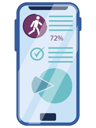 Mobile health app, heart rate tracking and pedometer. Sport and recreation. In minimalist style. Cartoon flat
