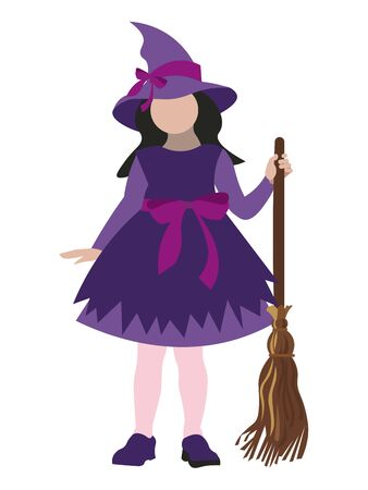 Halloween Isolated on white background girl in a witch costume. In minimalist style. Cartoon flat