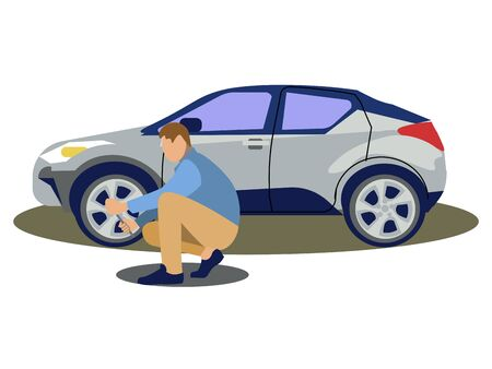 A man changes the wheel of a car. Tire service. In minimalist style. Cartoon flat Vectores