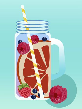 Summer alcoholic drink cold with berries. Realistic drawing. Vector illustration.