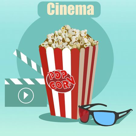 Film industry set. Glasses, clapperboard and popcorn. In minimalist style. Cartoon flat vector.