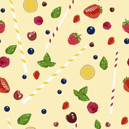 Seamless pattern. Fruits and berries composition for a cocktail. Realistic drawing. Vector