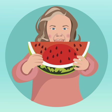 Girl eat watermelon. In minimalist style. Cartoon flat vector
