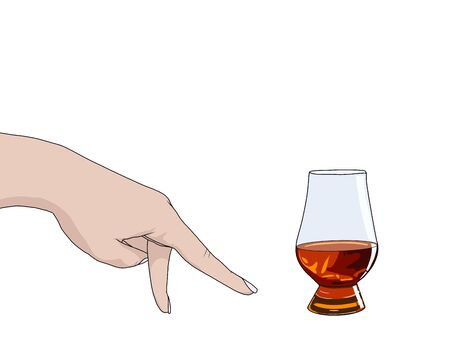 Female hand showing walking fingers gesture. A glass of whiskey nosing. Outline icon isolated on white background. Realistic drawing. Vector