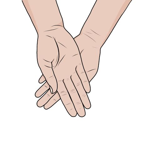 Female hands asking posture. One hand on top of other vector. Church, hands, blessing, fold your hands right on the left palm up, white background Иллюстрация