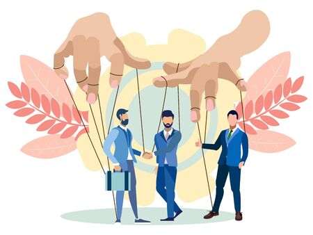 The hands of the puppeteer manage businessmen. In minimalist style. Flat isometric raster