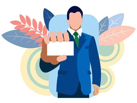 Businessman shows a business card, holds in his hand. Bring closer. In minimalist style Cartoon flat raster