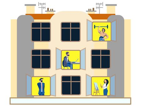People in the windows of an apartment building day. Doing household chores. In minimalist style. Flat isometric raster