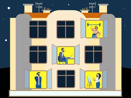 People in the windows of an apartment building. Doing household chores. In minimalist style. Flat isometric raster
