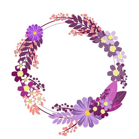 Flower ornament circle. In minimalist style. Flat isometric raster