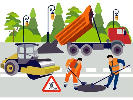 Employees of road works. Equipment and materials for repair. In minimalist style. Flat isometric raster