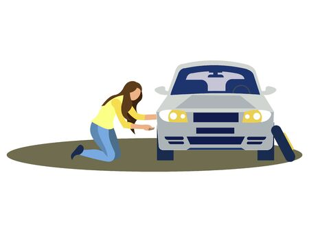A woman changes the wheel of a car. Tire service. In minimalist style. Cartoon flat vector.