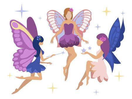 Set, three magic fairies. Isolated on a white background. Flat style. Cartoon vector illustration Иллюстрация