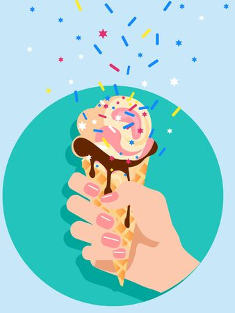 Female hand holds an ice cream cone. Flat style. Cartoon vector illustration