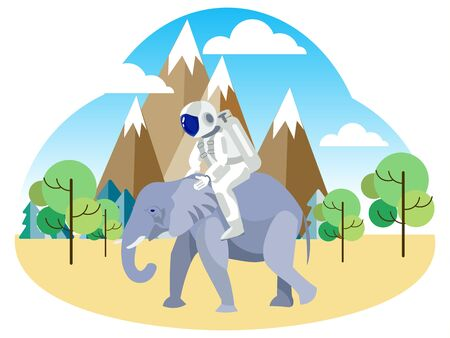 Astronaut riding an elephant. African safari. In minimalist style. Flat isometric raster