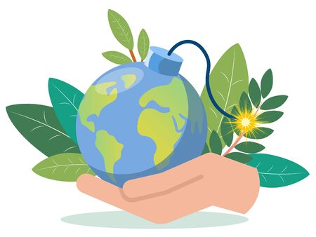 A hand is holding a planet earth imitation bomb. In minimalist style. Flat isometric raster