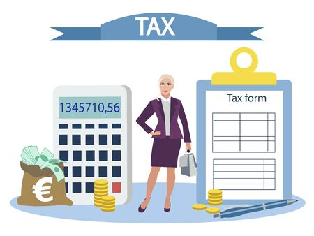 Objects and objects of accounting, tax report. Flat style. Cartoon vector