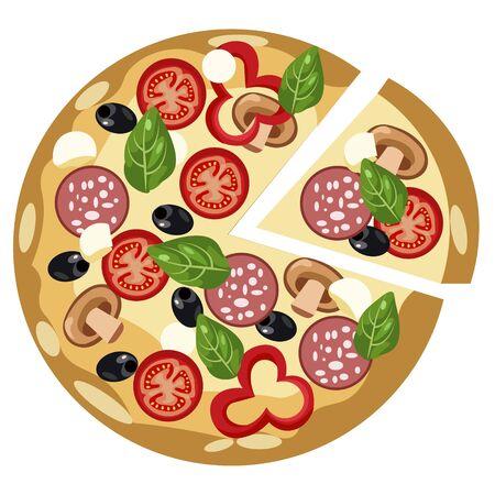 Food, round pizza. Flat style. Cartoon vector