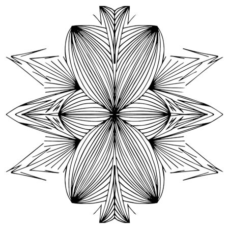Mirror pattern, repeating lines. Star, flower or snowflake. Children coloring, drawing. Black and white snowflake.