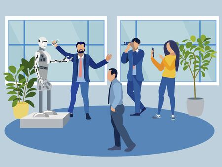 Presentation of a new robot. Exhibition of technology. Flat style. Cartoon vector