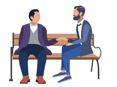 Homosexuality, gay. Two mens romantically sit on a bench. Flat style. Cartoon vector 版權商用圖片